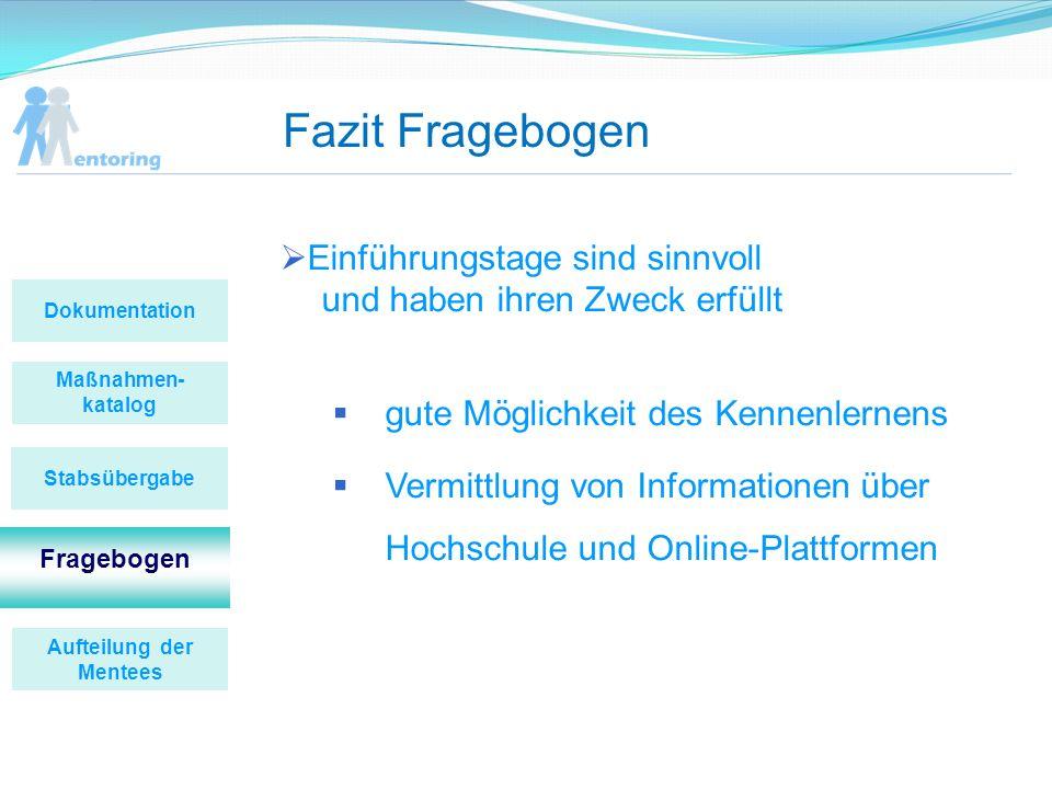 Fazit Fragebogen Maßnahmen- katalog Fragebogen Stabsübergabe Dokumentation Aufteilung der Mentees Einführungstage sind sinnvoll und haben ihren Zweck