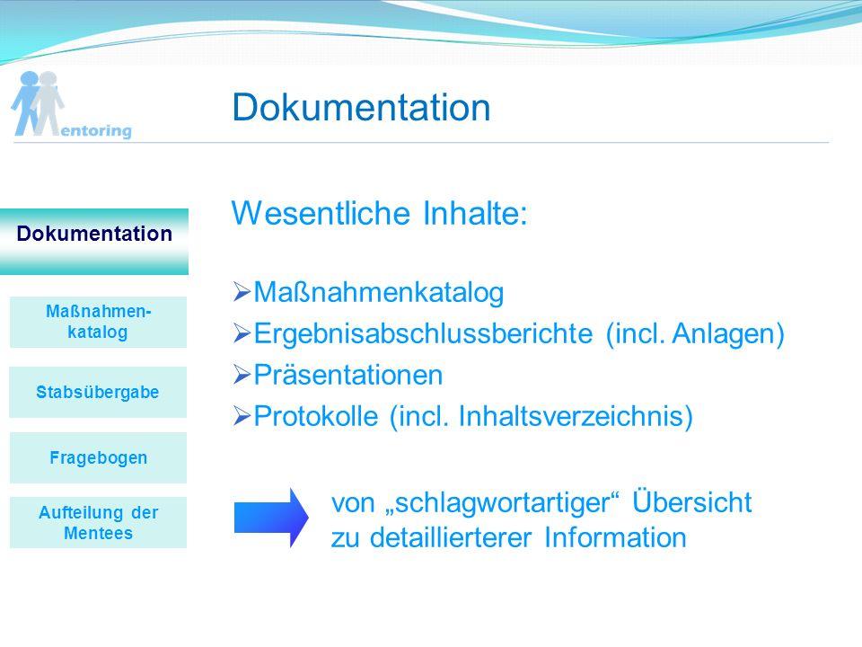 Dokumentation Wesentliche Inhalte: Maßnahmenkatalog Ergebnisabschlussberichte (incl. Anlagen) Präsentationen Protokolle (incl. Inhaltsverzeichnis) Maß