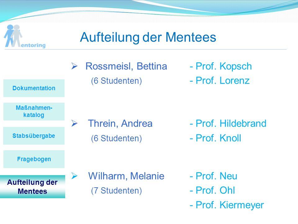 Aufteilung der Mentees Maßnahmen- katalog Stabsübergabe Dokumentation Fragebogen Aufteilung der Mentees Rossmeisl, Bettina- Prof. Kopsch (6 Studenten)