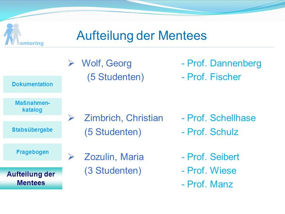 Aufteilung der Mentees Maßnahmen- katalog Stabsübergabe Dokumentation Fragebogen Aufteilung der Mentees Wolf, Georg- Prof. Dannenberg (5 Studenten)- P