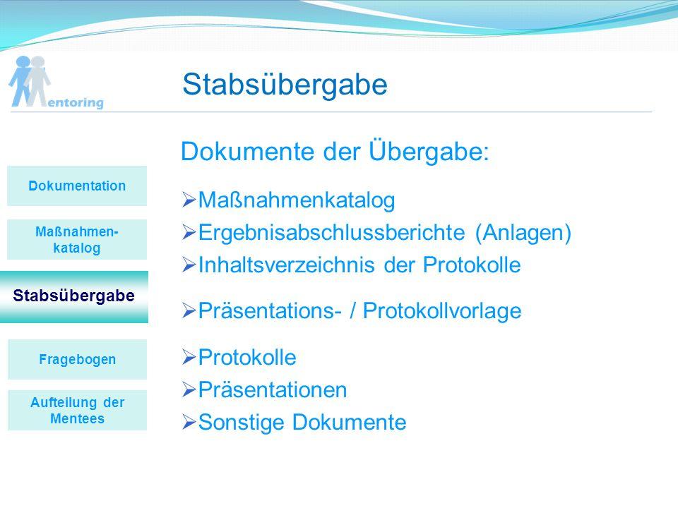 Stabsübergabe Dokumente der Übergabe: Maßnahmenkatalog Ergebnisabschlussberichte (Anlagen) Inhaltsverzeichnis der Protokolle Präsentations- / Protokol