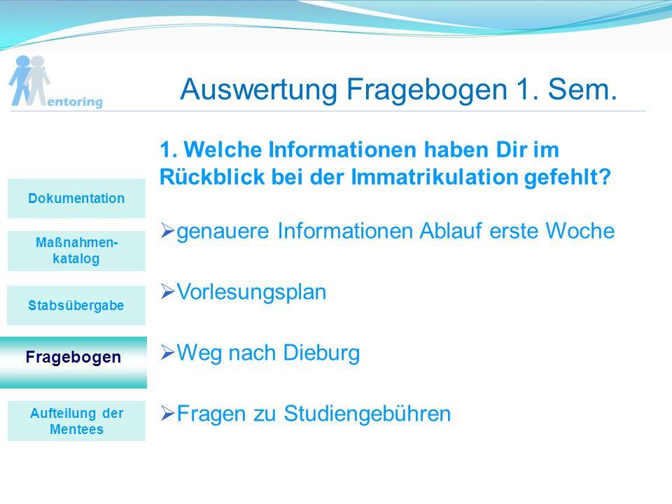 Auswertung Fragebogen 1. Sem. 1. Welche Informationen haben Dir im Rückblick bei der Immatrikulation gefehlt? genauere Informationen Ablauf erste Woch