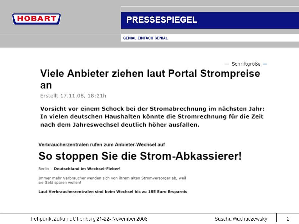 Treffpunkt Zukunft, Offenburg 21-22- November 2008Sascha Wachaczewsky2 PRESSESPIEGEL