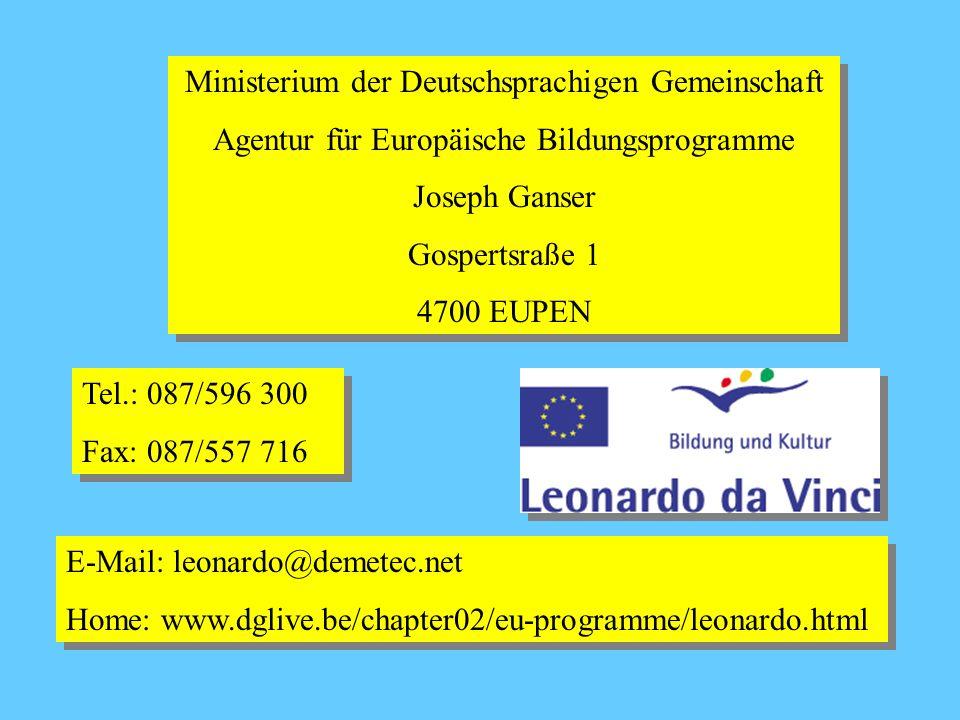 Leonardo da Vinci Leonardo da Vinci unterstützt Auslandsaufenthalte sowie Projekte und Forschungsarbeiten zu Themen der Berufsbildung sowie Transnationale Netze, mit denen die grenzüberschreitende Zusammenarbeit in der Berufsbildung gefördert und weiter entwickelt werden soll.