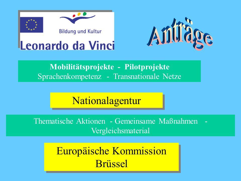 Mobilitätsprojekte - Pilotprojekte Sprachenkompetenz - Transnationale Netze Nationalagentur Thematische Aktionen - Gemeinsame Maßnahmen - Vergleichsmaterial Europäische Kommission Brüssel