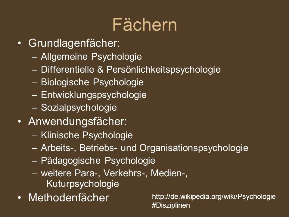 Fächern Grundlagenfächer: –Allgemeine Psychologie –Differentielle & Persönlichkeitspsychologie –Biologische Psychologie –Entwicklungspsychologie –Sozi