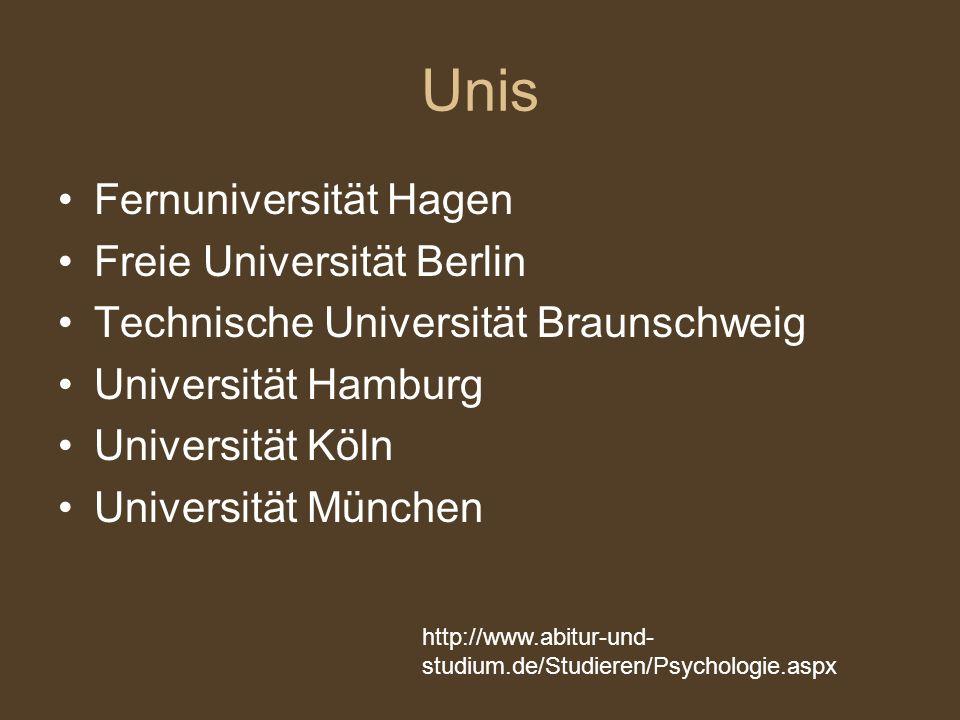 Unis Fernuniversität Hagen Freie Universität Berlin Technische Universität Braunschweig Universität Hamburg Universität Köln Universität München http: