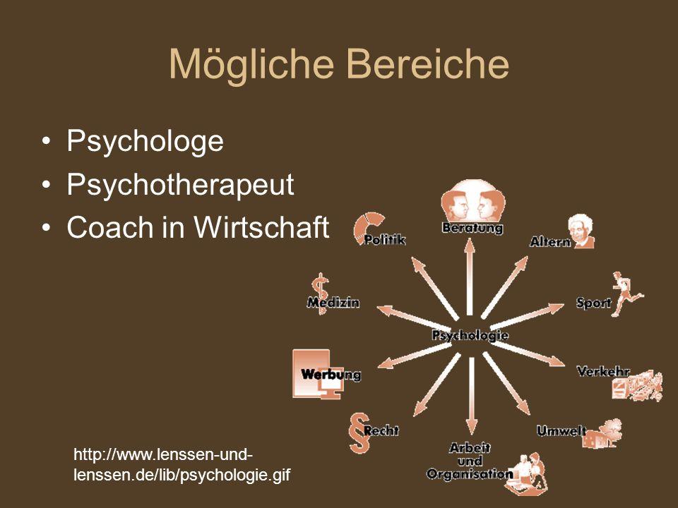 Mögliche Bereiche Psychologe Psychotherapeut Coach in Wirtschaft http://www.lenssen-und- lenssen.de/lib/psychologie.gif