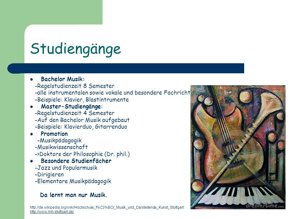 Studiengänge Bachelor Musik: -Regelstudienzeit 8 Semester -alle instrumentalen sowie vokale und besondere Fachrichtungen sind zusammengefasst -Beispie
