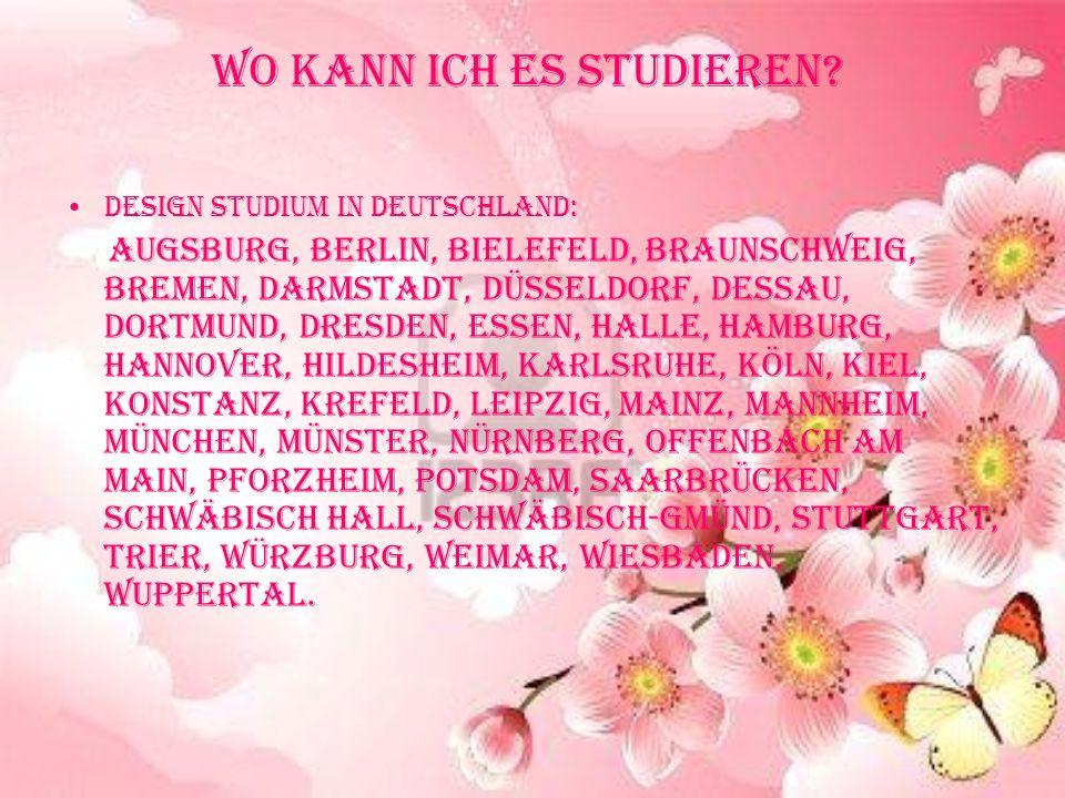 Wo kann ich es studieren? Design Studium in Deutschland: Augsburg, Berlin, Bielefeld, Braunschweig, Bremen, Darmstadt, Düsseldorf, Dessau, Dortmund, D