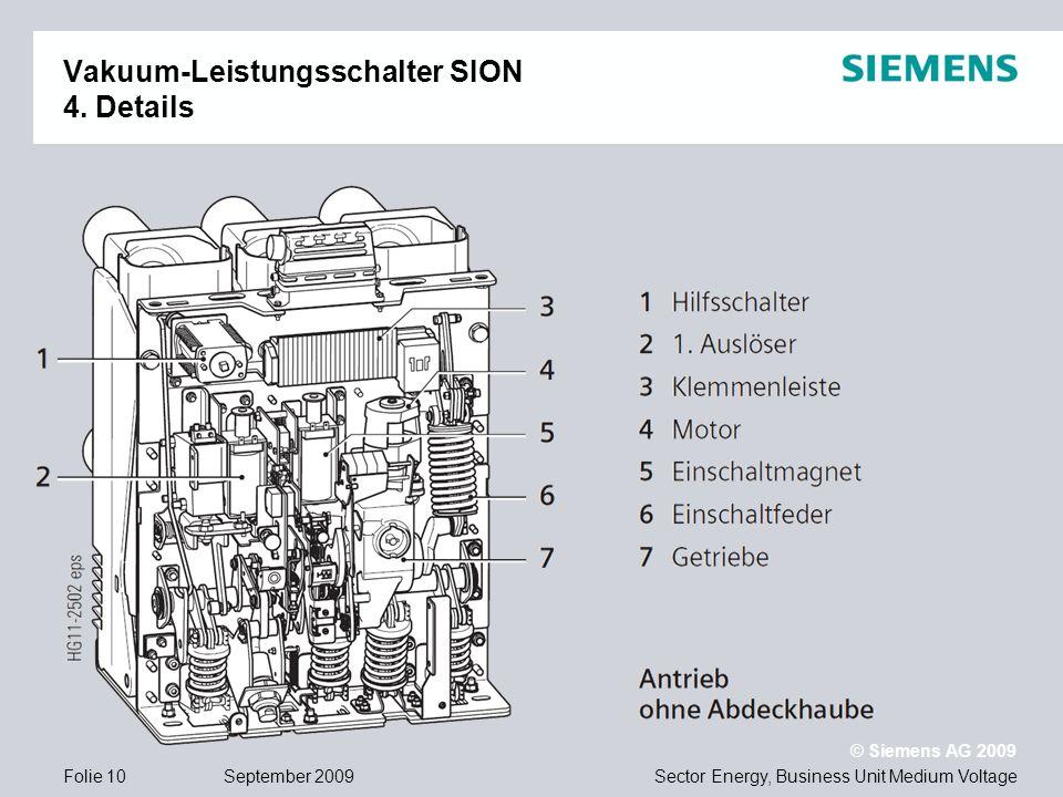Sector Energy, Business Unit Medium Voltage © Siemens AG 2009 September 2009Folie 10 Vakuum-Leistungsschalter SION 4. Details