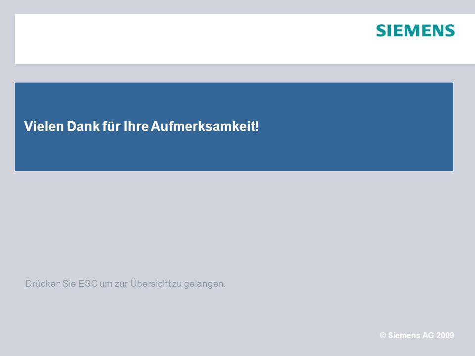 Sector Energy, Business Unit Medium Voltage © Siemens AG 2009 September 2009Folie 16 Drücken Sie ESC um zur Übersicht zu gelangen. Vielen Dank für Ihr