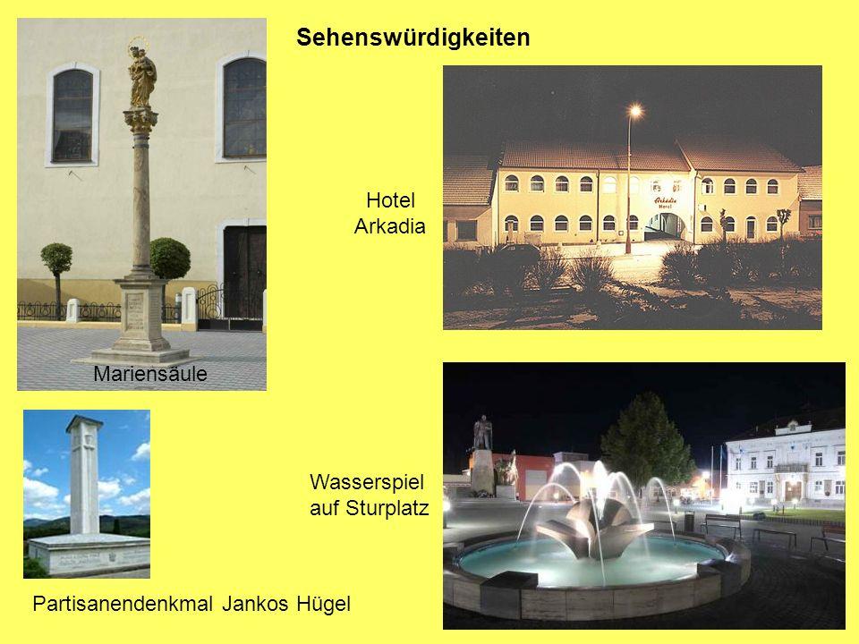 Sehenswürdigkeiten Mariensäule Partisanendenkmal Jankos Hügel Wasserspiel auf Sturplatz Hotel Arkadia