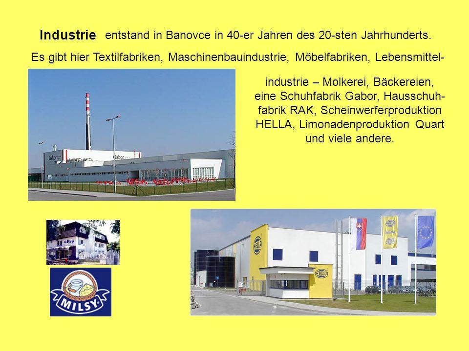 Industrie entstand in Banovce in 40-er Jahren des 20-sten Jahrhunderts.