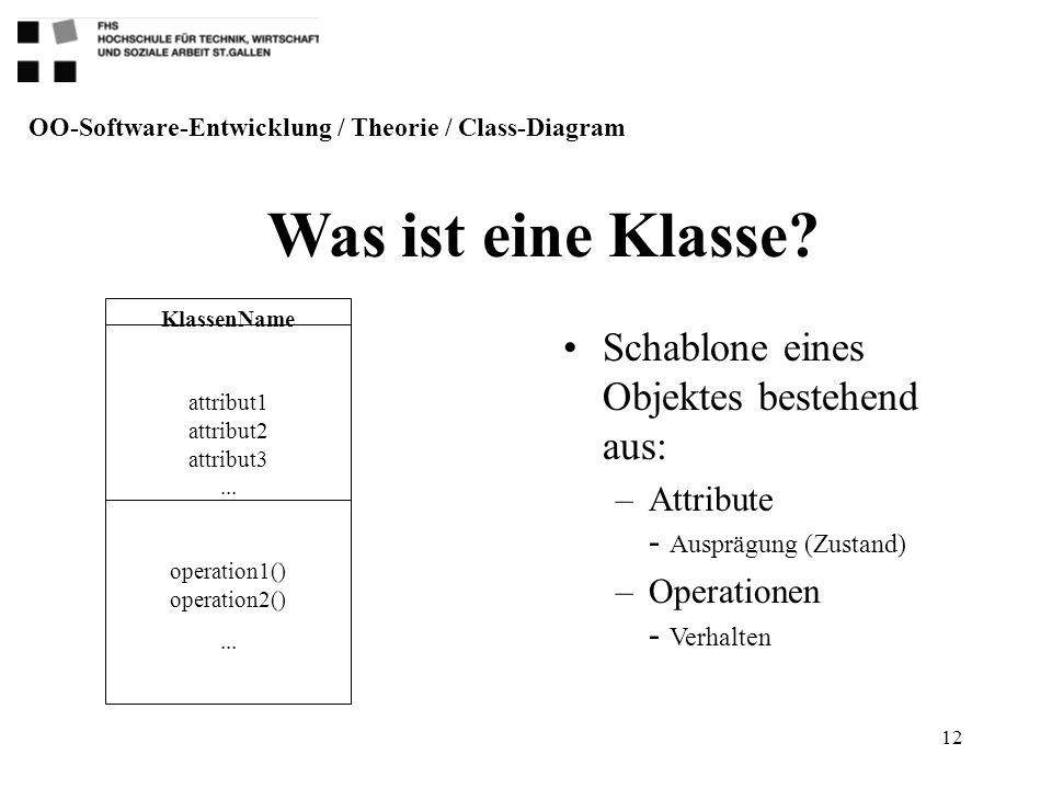 12 Schablone eines Objektes bestehend aus: –Attribute - Ausprägung (Zustand) –Operationen - Verhalten Was ist eine Klasse? OO-Software-Entwicklung / T
