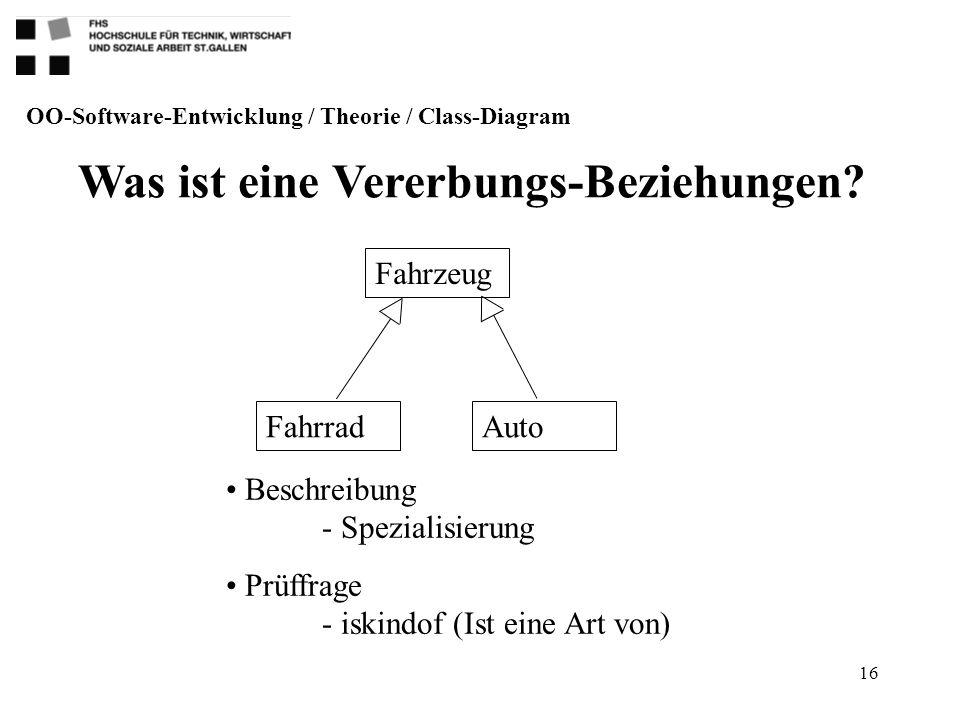 16 Was ist eine Vererbungs-Beziehungen? OO-Software-Entwicklung / Theorie / Class-Diagram Fahrzeug AutoFahrrad Beschreibung - Spezialisierung Prüffrag