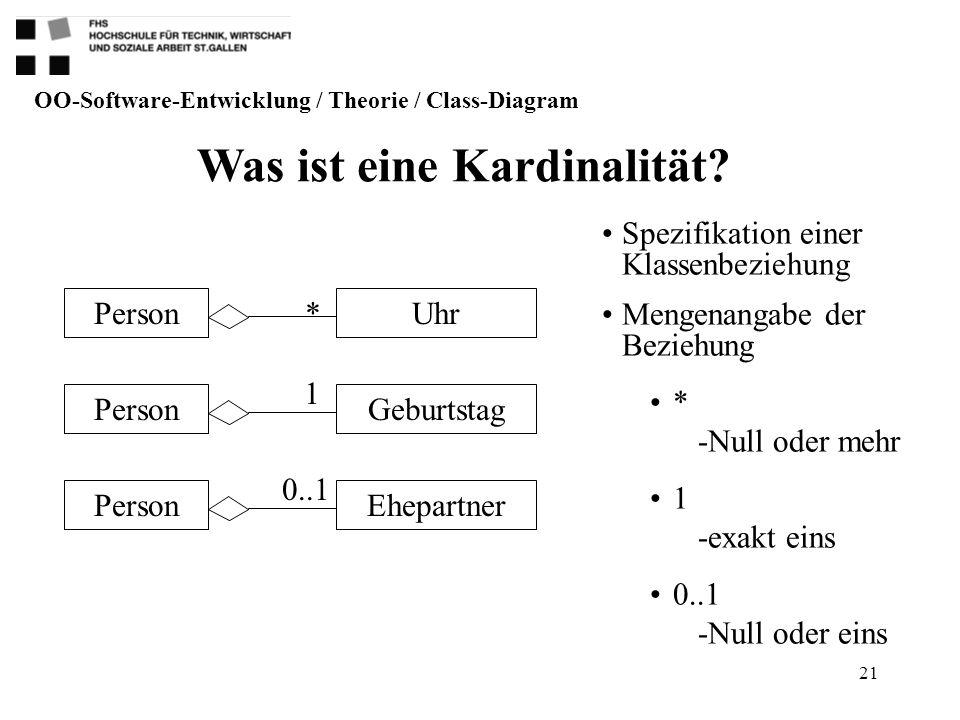 21 UhrPerson GeburtstagPerson EhepartnerPerson Was ist eine Kardinalität? OO-Software-Entwicklung / Theorie / Class-Diagram Spezifikation einer Klasse