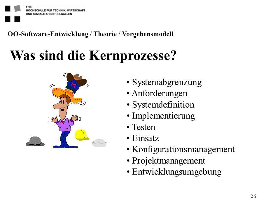 26 OO-Software-Entwicklung / Theorie / Vorgehensmodell Was sind die Kernprozesse? Systemabgrenzung Anforderungen Systemdefinition Implementierung Test