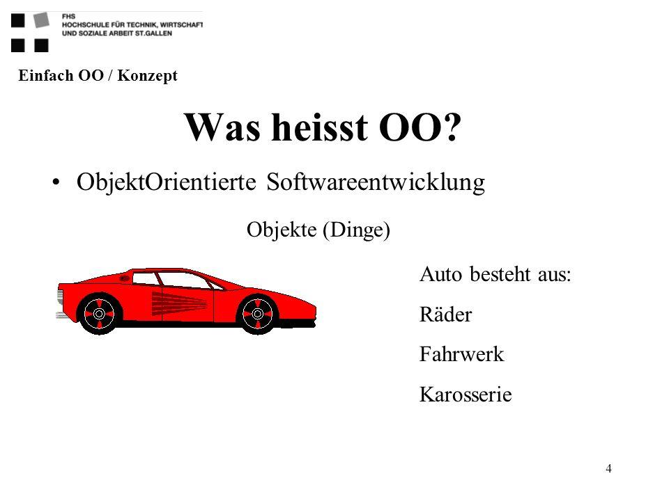 4 Was heisst OO? ObjektOrientierte Softwareentwicklung Einfach OO / Konzept Objekte (Dinge) Auto besteht aus: Räder Fahrwerk Karosserie