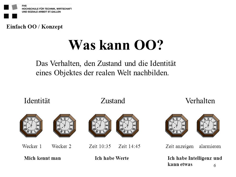 6 Was kann OO? Einfach OO / Konzept Identität Wecker 1Wecker 2 ZustandVerhalten Das Verhalten, den Zustand und die Identität eines Objektes der realen