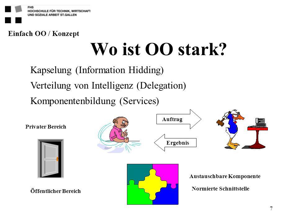 7 Wo ist OO stark? Privater Bereich Öffentlicher Bereich Auftrag Ergebnis Austauschbare Komponente Normierte Schnittstelle Einfach OO / Konzept Kapsel