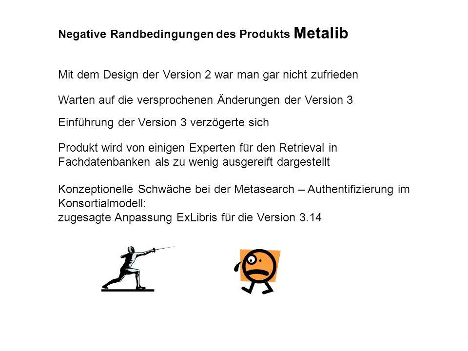 Negative Randbedingungen des Produkts Metalib Mit dem Design der Version 2 war man gar nicht zufrieden Warten auf die versprochenen Änderungen der Ver