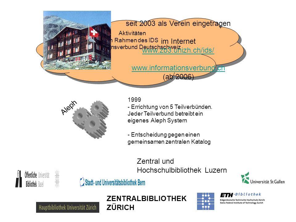 ZENTRALBIBLIOTHEK ZÜRICH Zentral und Hochschulbibliothek Luzern Aktivitäten im Rahmen des IDS Informationsverbund Deutschschweiz seit 2003 als Verein