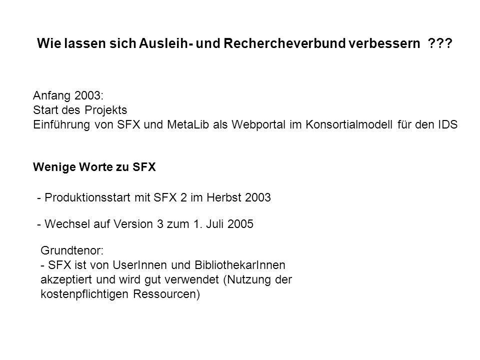 Wie lassen sich Ausleih- und Rechercheverbund verbessern ??? Anfang 2003: Start des Projekts Einführung von SFX und MetaLib als Webportal im Konsortia