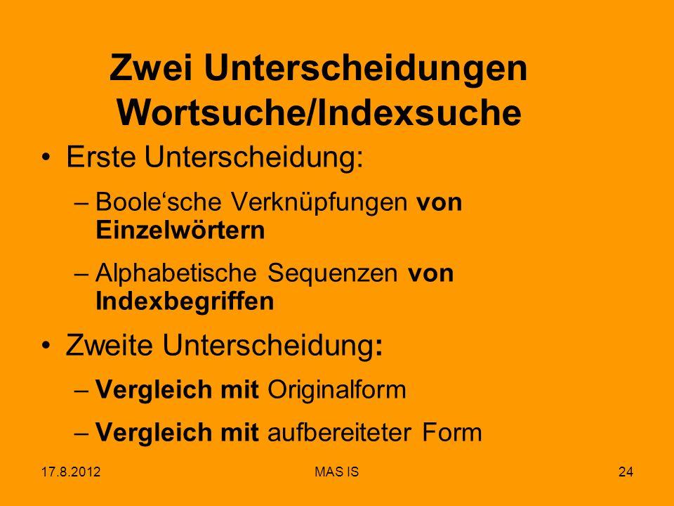 17.8.2012MAS IS24 Zwei Unterscheidungen Wortsuche/Indexsuche Erste Unterscheidung: –Boolesche Verknüpfungen von Einzelwörtern –Alphabetische Sequenzen