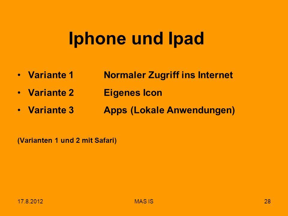 17.8.2012MAS IS28 Iphone und Ipad Variante 1Normaler Zugriff ins Internet Variante 2Eigenes Icon Variante 3Apps (Lokale Anwendungen) (Varianten 1 und
