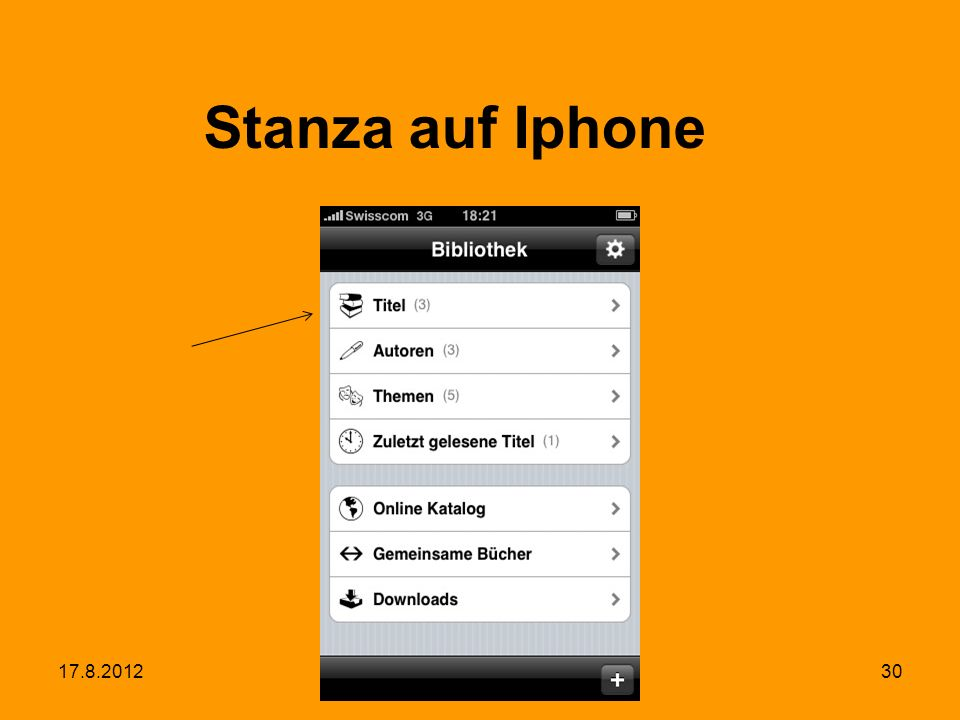 17.8.2012MAS IS30 Stanza auf Iphone