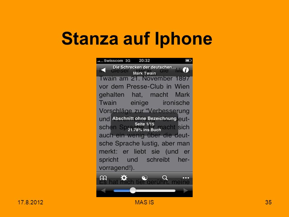 17.8.2012MAS IS35 Stanza auf Iphone