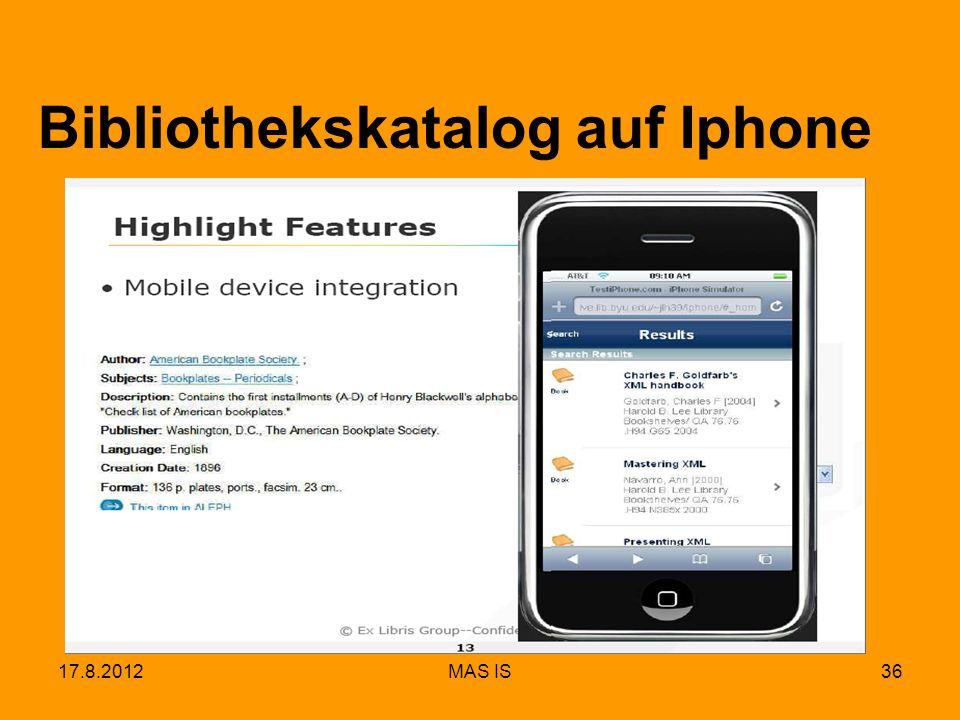 17.8.2012MAS IS36 Bibliothekskatalog auf Iphone