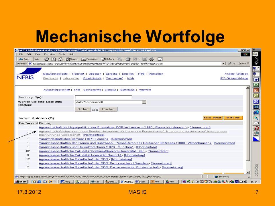 17.8.2012MAS IS7 Mechanische Wortfolge