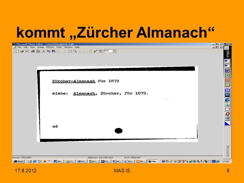 17.8.2012MAS IS9 kommt Zürcher Almanach