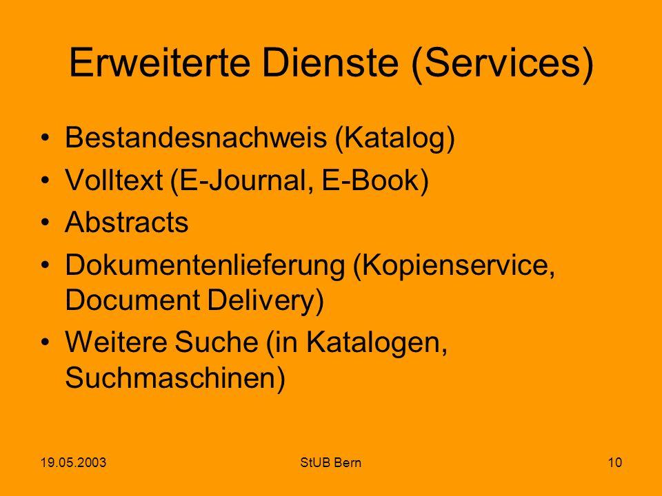 19.05.2003StUB Bern10 Erweiterte Dienste (Services) Bestandesnachweis (Katalog) Volltext (E-Journal, E-Book) Abstracts Dokumentenlieferung (Kopienserv