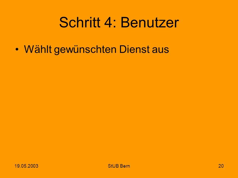 19.05.2003StUB Bern20 Schritt 4: Benutzer Wählt gewünschten Dienst aus