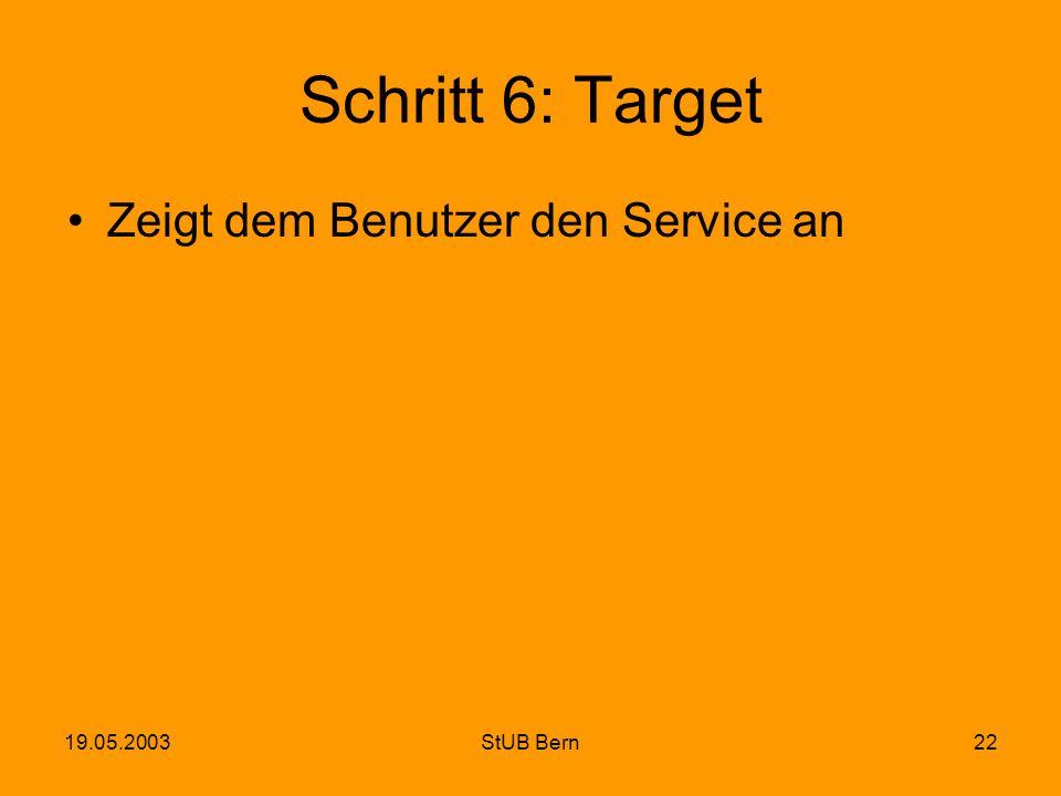 19.05.2003StUB Bern22 Schritt 6: Target Zeigt dem Benutzer den Service an