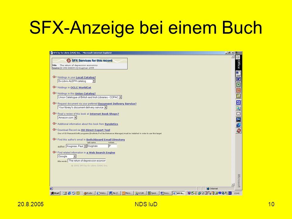 20.8.2005NDS IuD10 SFX-Anzeige bei einem Buch