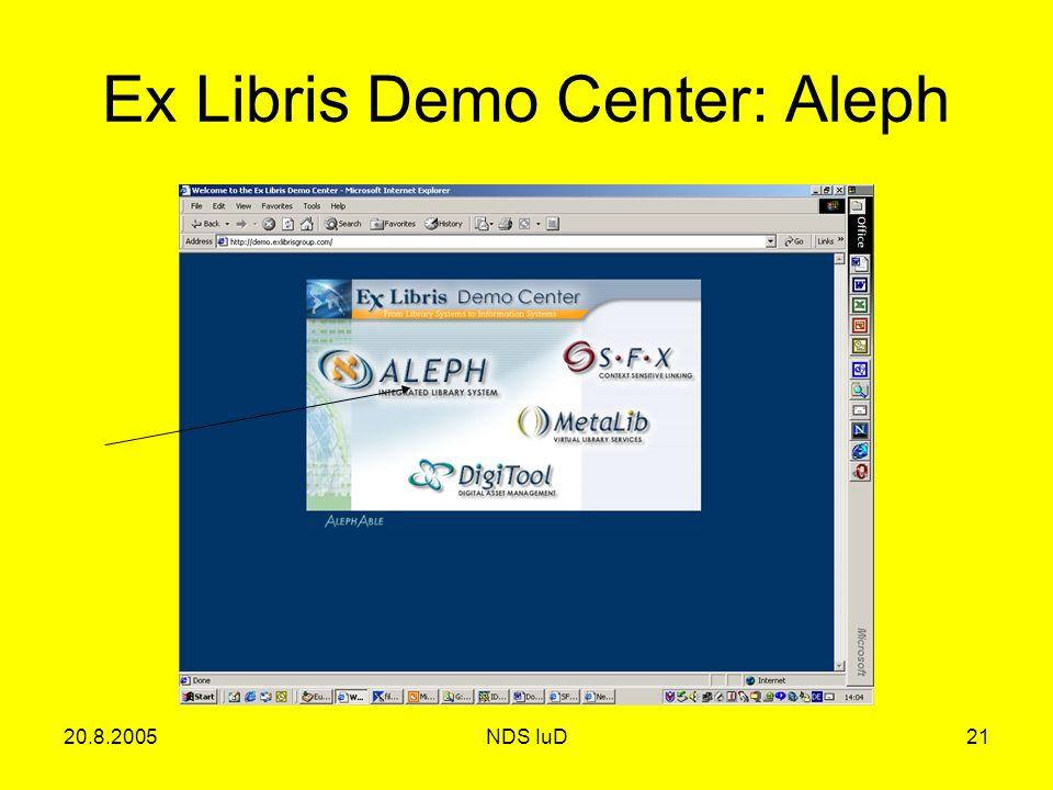 20.8.2005NDS IuD21 Ex Libris Demo Center: Aleph