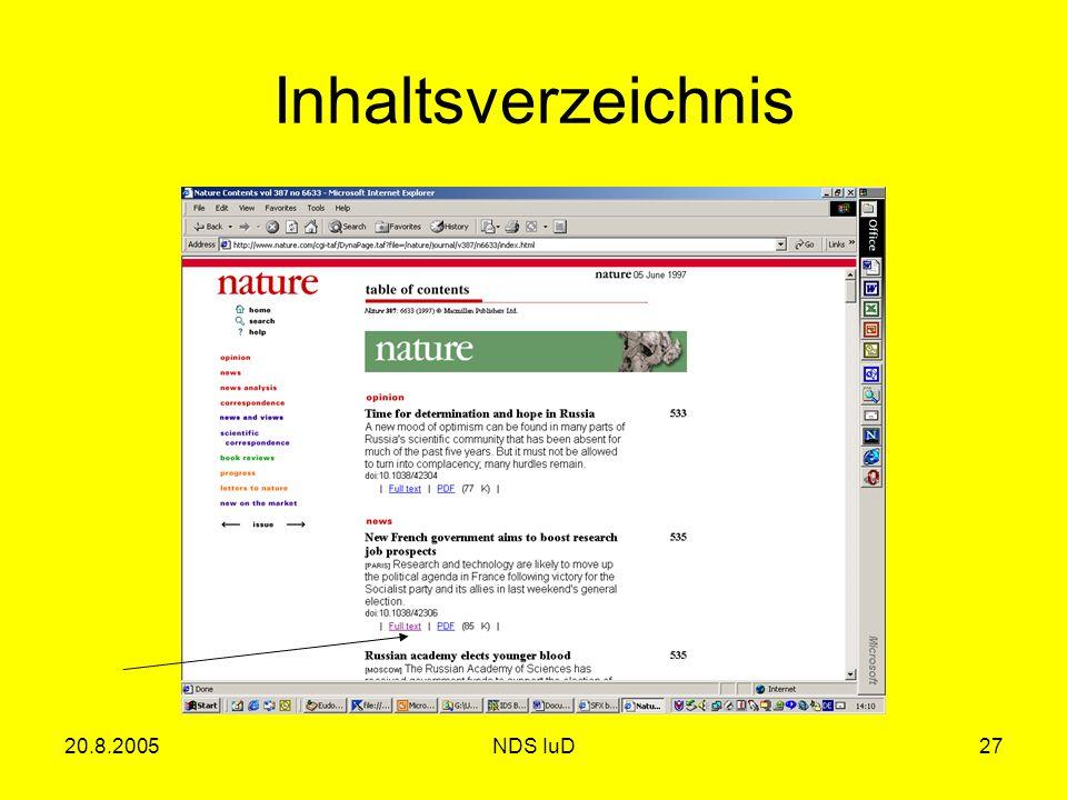 20.8.2005NDS IuD27 Inhaltsverzeichnis
