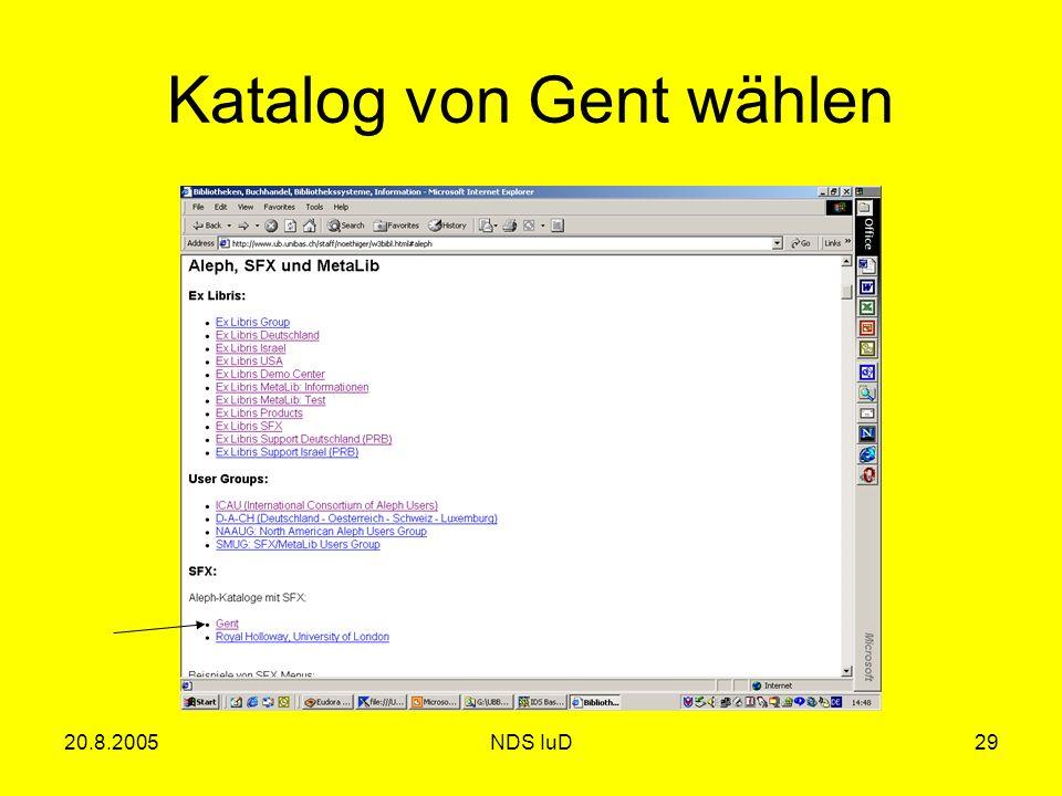 20.8.2005NDS IuD29 Katalog von Gent wählen