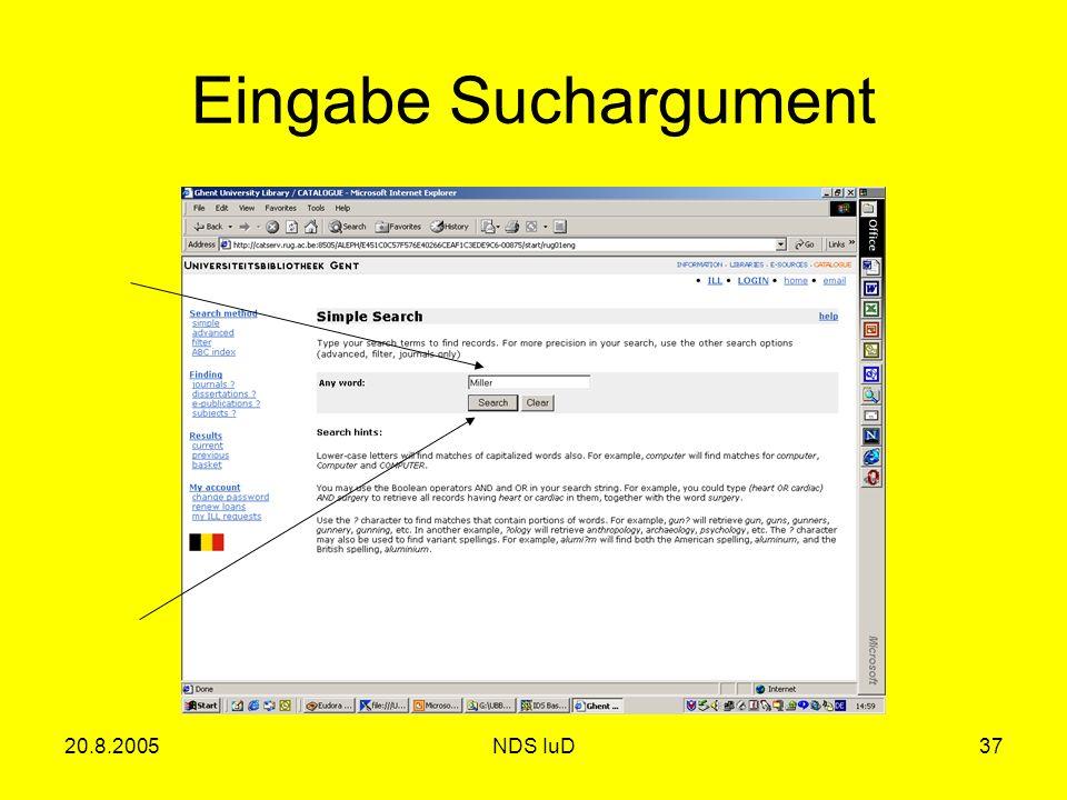 20.8.2005NDS IuD37 Eingabe Suchargument