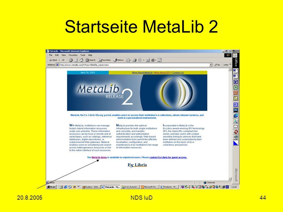 20.8.2005NDS IuD44 Startseite MetaLib 2