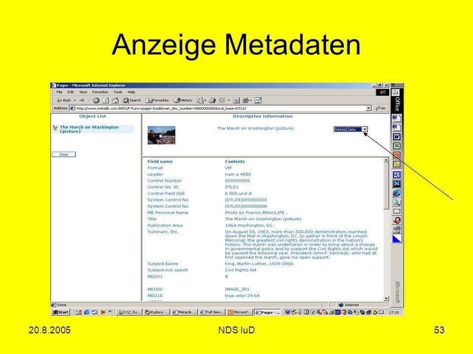 20.8.2005NDS IuD53 Anzeige Metadaten