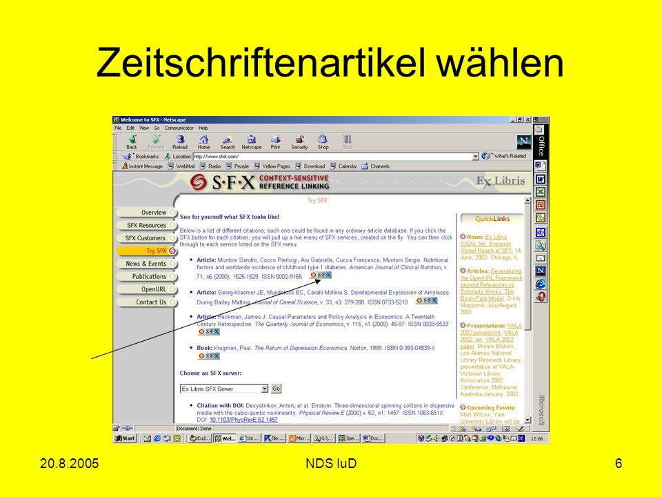 20.8.2005NDS IuD6 Zeitschriftenartikel wählen