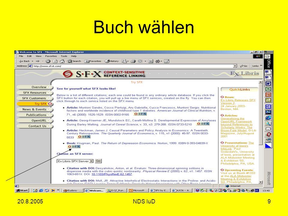 20.8.2005NDS IuD9 Buch wählen