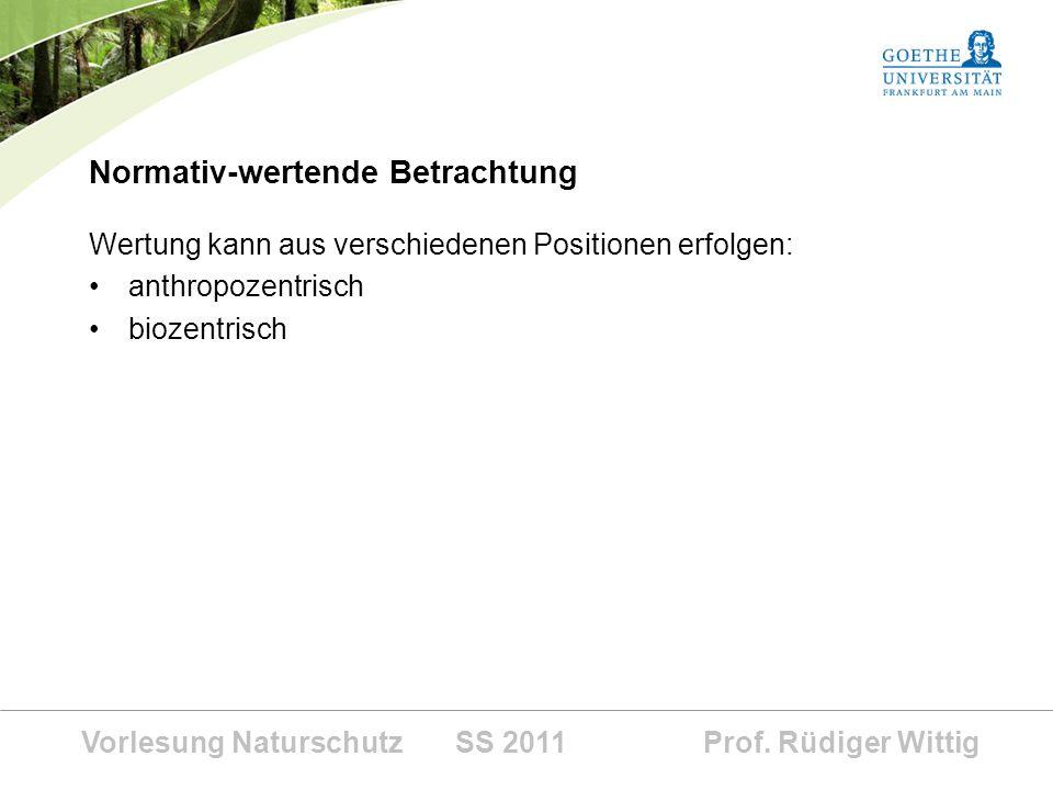 Vorlesung Naturschutz SS 2011 Prof. Rüdiger Wittig Normativ-wertende Betrachtung Wertung kann aus verschiedenen Positionen erfolgen: anthropozentrisch