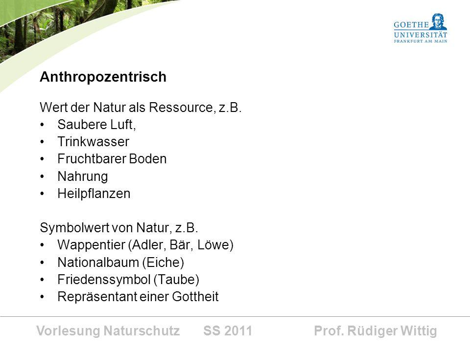 Vorlesung Naturschutz SS 2011 Prof. Rüdiger Wittig Anthropozentrisch Wert der Natur als Ressource, z.B. Saubere Luft, Trinkwasser Fruchtbarer Boden Na