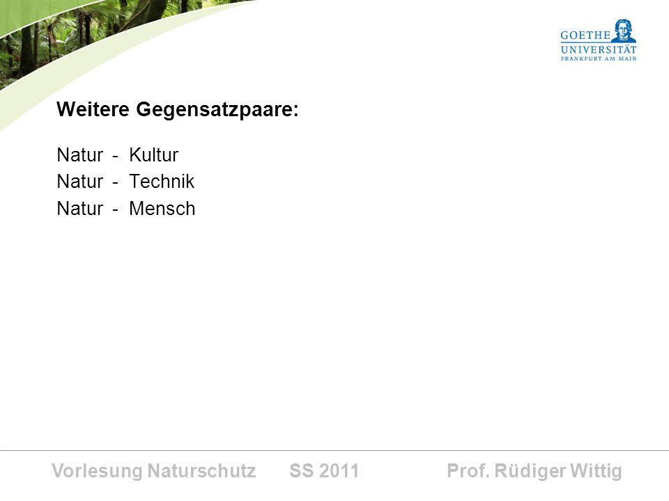 Vorlesung Naturschutz SS 2011 Prof. Rüdiger Wittig Weitere Gegensatzpaare: Natur - Kultur Natur - Technik Natur - Mensch